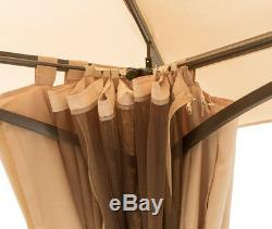 Garden Gazebo Steel Frame Mosquito Mesh Screen Privacy Curtain Waterproof Canopy