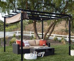 Garden Pergola Gazebo Metal Retractable Canopy Shade Outdoor Backyard Black New