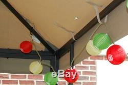 Gazebo 8' Square Steel Frame Powder-Coated Black Matte Finish, High Grade Canopy