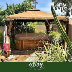 Gazebo Canopy Pergola Outdoor Tent Mosquito Nets Steel Frame Wall Panels 118x118