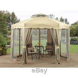 Gazebo Hexagon Garden Patio Shade Tent Canopy Netting Screen Steel Frame Zippers