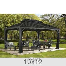 Gazebo Luxury Outdoor Sun Shelter Curtain Mosquito Netting Messina Dark Grey