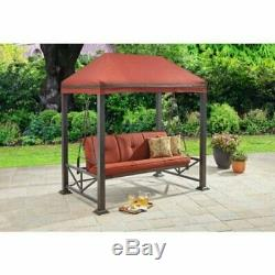 Gazebo Porch Swing Bed 3 Person Seat Steel Frame Outdoor Garden Furniture Red