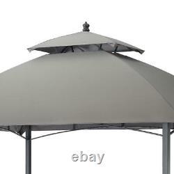 Gazebo with Canopy Top 5' x 8' Outdoor Pergola Steel Frame Gray Garden Yard New