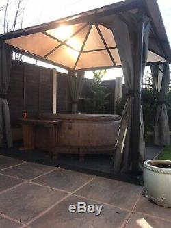 Grey All Weather Steel Gazebo Season Poly-carbonate with Sides 3x3m ASSEMBLED