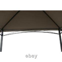 Grill Gazebo Black Metal Rectangle Weather Resistant Canopy Durable Steel Frame