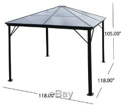 Hard Top Gazebo Aluminum Pergola Metal Large 10x10 Outdoor Canopy Shelter Shade