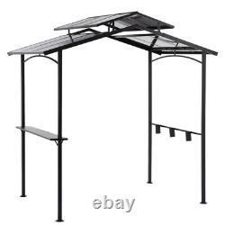 Hard Top Gazebo Grill Heavy Duty Steel Metal Frame 5' x 8' Pergola Canopy Black