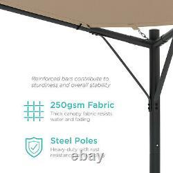 Heavy Duty Gazebo Pergola Tan Brown Canopy 12 x 12 Steel Frame W Weights Shade