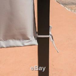 Heavy Duty Steel Frame Outdoor Gazebo Pergola with Beige Fabric Sun Shade