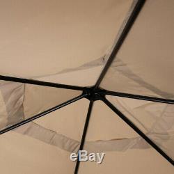 Hexagonal Patio Gazebo Steel Frame Large Zippered Mosquito Netting Beige Canopy