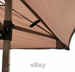 Instant Canopy 12' x 12' Beige Brown Steel Frame Gazebo Tent Heavy Duty Top
