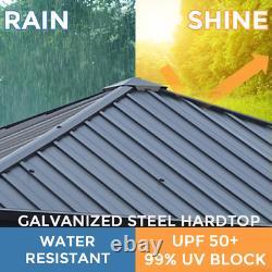 LAUREL CANYON 10x10ft. Black Hardtop Galvanized Steel Metal Outdoor Patio Gazebo