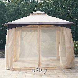 Large Canopy Outside Patio Pergola with 2-Tier Venting Roof & Strong Steel Frame