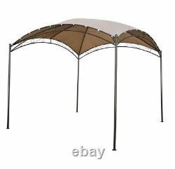 Metal 10 x 10 Dome Gazebo Beige Backyard Garden Steel Frame UV Canopy Shelter