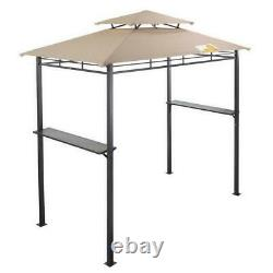 Metal Grill Gazebo Large BBQ Double Roof Canopy Tend Barbeque Cover 8 ft Beige