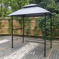 NEW Grill Gazebo 8x5Ft Shelter Tent Double Tier Soft Top Canopy Steel Frame Grey