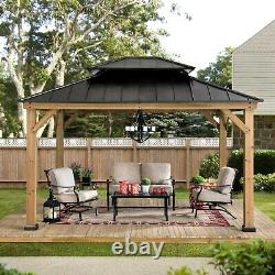 NEW Sunjoy Archwood 10X12 Cedar Framed Gazebo withSteel Roof CHARLOTTE PICKUP ONLY
