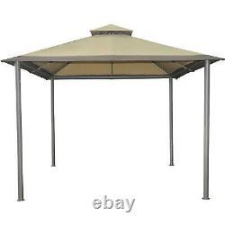OUTDOOR PORTABLE GAZEBO 10X10 CANOPY TENT Steel Sun Shelter Shade Tan Top Vent