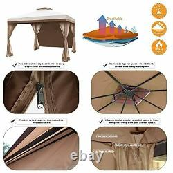 Ocala 10 x 10 Ft Gazebo Double Tier Patio Canopy Steel Frame with 4 Side Beige
