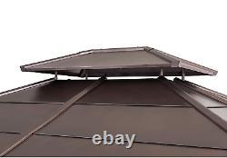 Outdoor Gazebo 10 x 12 Hardtop Cedar Framed With Steel 2 Tier Hip Roof New