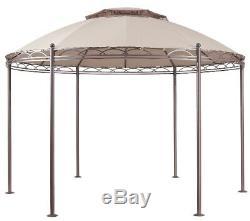 Outdoor Gazebo Steel Frame Round Pergola Beige Canopy Double Roof Garden Patio