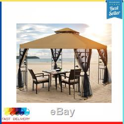 Outdoor Gazebo Steel Frame Two-Tiered Top Canopy 10x10 Ft for Garden Backyard