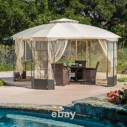 Outdoor Gazebo Tan 13'x13' Steel Canopy Mosquito Net Metal Patio Garden Backyard