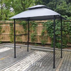 Outdoor Grill Gazebo Shelter Tent Double Tier Soft Top Canopy&Steel Frame withhook