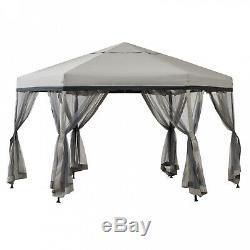 Outdoor Patio Garden Gazebo Steel Frame Canopy Tent Wedding Pavilion 11' x 11