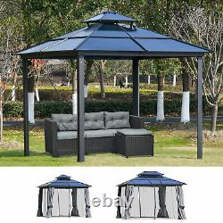 Outdoor Pergola Cabana with Steel Frame & Net Sidewalls for Privacy