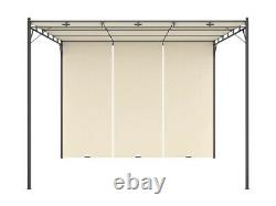 Outdoor Pergola Canopy Cream Square Gazebo 10x10 Tent Side Curtains Steel Frame