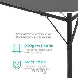 Outdoor Pergola Gray Canopy Heavy Duty Gazebo 12 x 12 Black Steel Frame Wheights