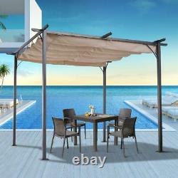 Outsunny 10 Retractable Canopy Cover Steel Frame Classic Pergola Gazebo