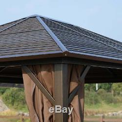 Outsunny 12' x 10' Steel Hardtop Outdoor Gazebo with Brown 10 x 12