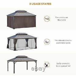 Outsunny 16' x 12' Outdoor Hardtop Patio Gazebo with Galvanized Steel Frame, Brown
