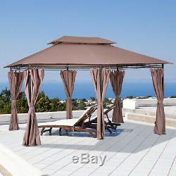Outsunny 4m x 3m Pavilion Steel Frame Garden Gazebo Khaki
