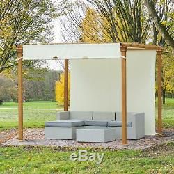 Outsunny Steel Frame Retractable Outdoor Garden Pergola Beige