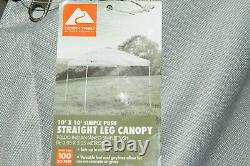 Ozark Trail 10' x 10' Simple Push Straight Leg Canopy (100 Sq. Ft.)-White Read