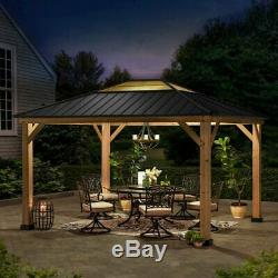 Patio Gazebo 10 Ft. W x 12 Ft. D Premium Cedar wood frame matte-black steel