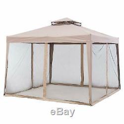 Patio Gazebo Steel Frame 10'x10' Mosquito Netting Rain Guard Kit Patio Furniture