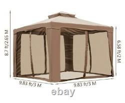Patio Gazebo Tent with Insect Netting, Reinforced Steel Frame, Sandbags 10x10 ft