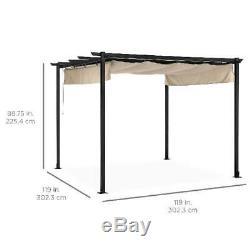 Patio Pergola 10x10ft Outdoor Gazebo Steel Frame Garden Shelter Sun Shade Tan
