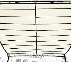 Patio Sun Shade Canopy Pergola 10 x 10 ft White Steel Frame Gazebo Deck Tent