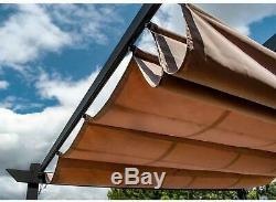 Pergola Gazebo Steel Frame 9x9 Sun Shade Large Canopy Rust Resistant Sand Black