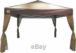 Portable Gazebo Large Canopy 10 x 10 Steel Frame Yard Tent Instant Brown Folding