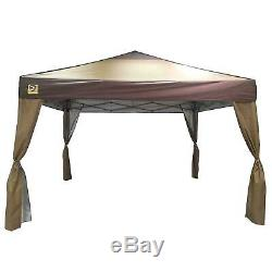 Portable Gazebo Large Canopy 12x12 Steel Frame Instant Brown Folding With Skirts
