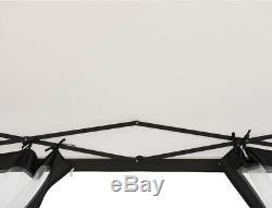 Portable Gazebo Pop Up White Soft Top Canopy Steel Frame Hexagon 11x11 Enclosed