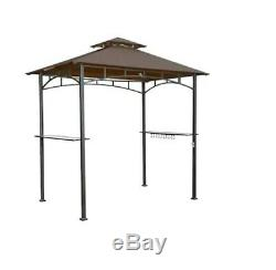 Rectangle Grill Gazebo Brown Steel Durable Powder Coated Steel Frame Outdoor