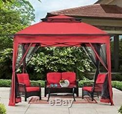 Red Luxury 11' x 11' Pop Up Steel Frame Gazebo with Netting Walls